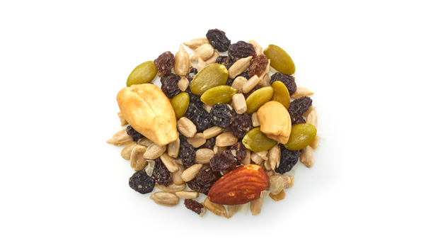 Currant raisins, sunflower seeds, cashews, almonds, pumpkin seeds, non GMO canola oil, sunflower oil.