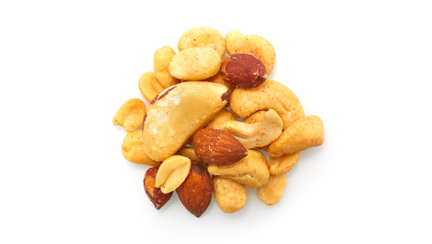 Roasted red skin peanuts, roasted blanched peanuts, roasted almonds, brazil nuts, cashews, filberts, non GMO canola oill, salt.
