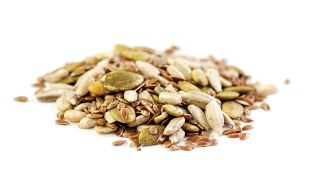 Brown flax seeds, sunflower seeds, roasted pumpkin seeds.