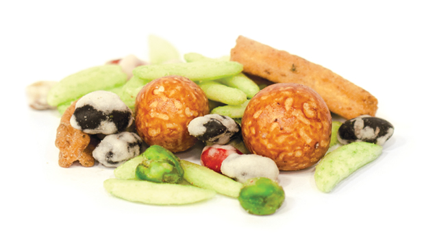 Soybeans, black soybeans, edamame beans, peas, green peas,  peanuts, white sesame, sugar, salt, oil (palm, sunflower), starch (corn, wheat, tapioca) , flour (wheat, rice ), wasabi powder, wheat powder, whey powder, vegetable powder, mustard powder,  soy sauce, malt dextrin, vegetarian wasabi seasoning, soybean solids, malt extract, yeast extract, spices, chive flakes, paprika, chilli, hydrolyzed soy protein, lime fruit juice powder, sodium acetate, citric acid, yeast extract, silicon dioxide, sodium ribonucleotides, onion, garlic, natural flavor, artificial color (tartrazine, brilliant blue FCF, allura red)