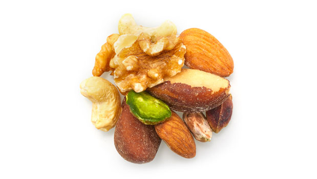 Almonds, walnuts, brazil nuts, cashews, pistachios.